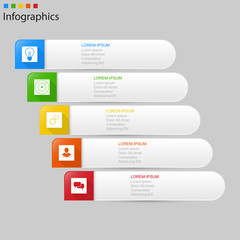 Infographics  5 elements horizontal ,step or process presentation timeline template