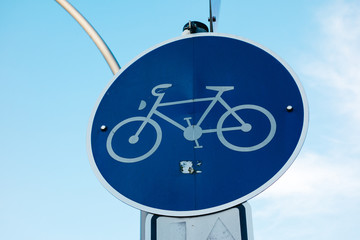 blue bicycle traffic sign