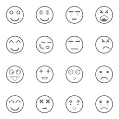 different emotions icons set, vector illustration