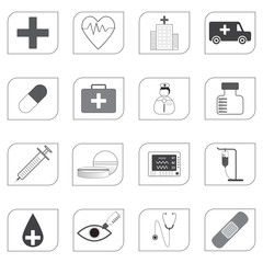 Medical Icons isolated on white background, vector illustration.
