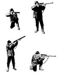 hunters sketch set -  illustration, vector