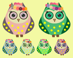 A set of six lovely owls with long eyelashes in wreaths of flowers, in different color variations in yellow pots