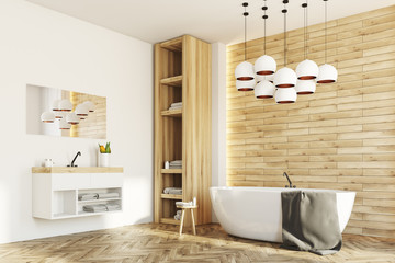 White and wooden bathroom, side