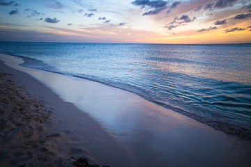 Wall Mural - Beautiful beach scene with  sea and sunset sky