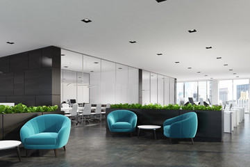 Blue armchairs waiting area, grass, side Wall mural