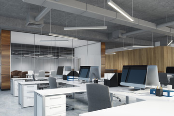 Open space office and meeting room side toned