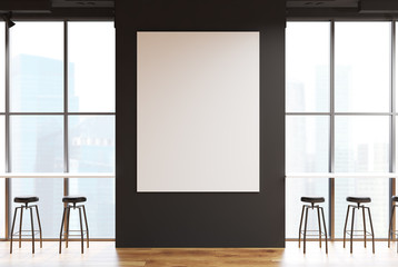 Gray bar with a large poster