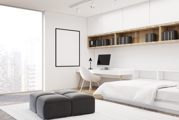 White bedroom and home office, single, corner