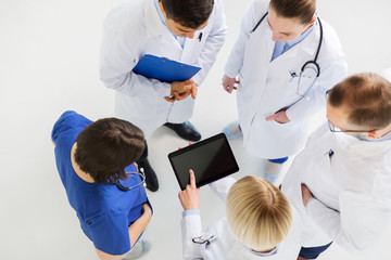 doctors with tablet pc at hospital