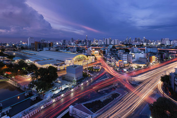 Bangkok Railway Station and city skyline