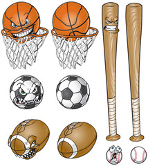 Cartoon Sports Equipment Set With and Without Faces