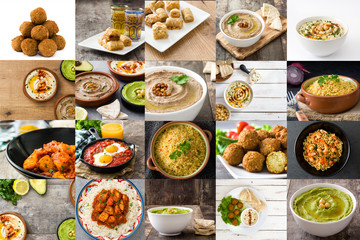 Traditional Middle East food collage