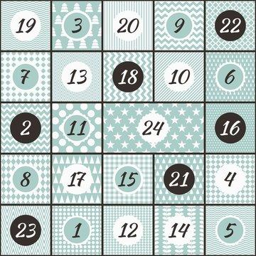 Moderner Adventskalender mint und schwarz gemustert mit 24 Türchen