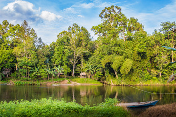 traditional boat on the river indonesia in jungles