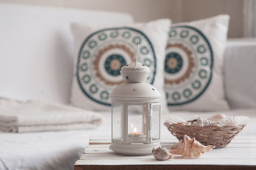 Wooden coffee table with lantern