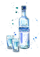Bottle of vodka and glasses.Picture of a alcoholic drink.Watercolor hand drawn illustration.Isolated sketch.