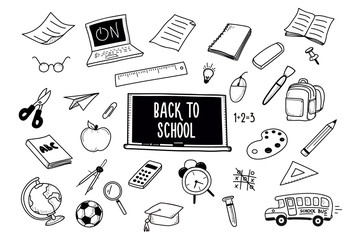 Back to School doodles. Vector hand drawn icons - school and classroom related objects