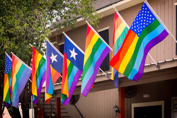 The rainbow flags, symbol of gay pride are proudly displayed in the city of Houston, Texas