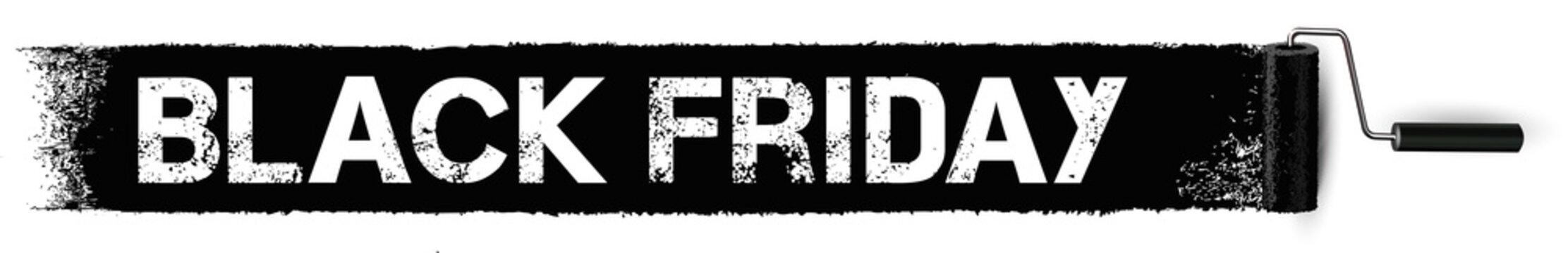 Black Friday Sale - Anstrich mit Farbroller Banner, Textur schwarz