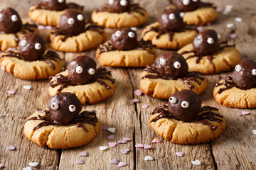 Halloween dessert: shortbread cookies with chocolate spiders close-up. horizontal background