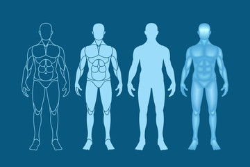 The male figure in the front. Set of vector images on a dark background.