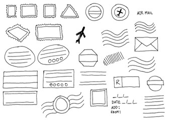 Blank doodle sketch postal stamps set.illustration vector