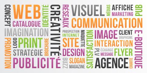 Communication, publicité et marketing - nuage de mots