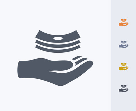 Hand Receiving Cash - Carbon Icons. A professional, pixel-perfect icon designed on a 32x32 pixel grid and redesigned on a 16x16 pixel grid for very small sizes.
