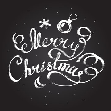 Merry Christmas. lettering Christmas and New Year holiday calligraphy phrase isolated on the background. Fun brush ink typography.