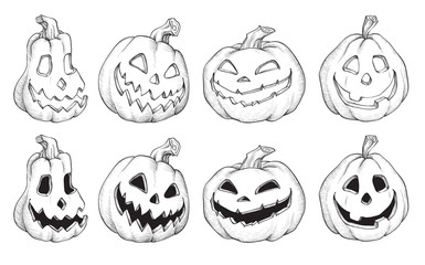 Vector Illustration of Black and White Halloween pumpkins.