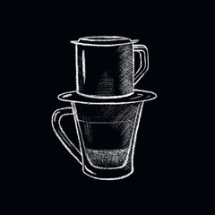 White chalk Vietnamese coffee cup. Vietnam style filtered coffee handdrawn illustration.