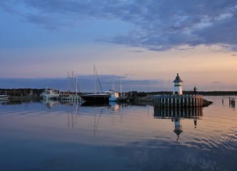 Summer sunset at the Baltic sea. Ebeltoft harbour.