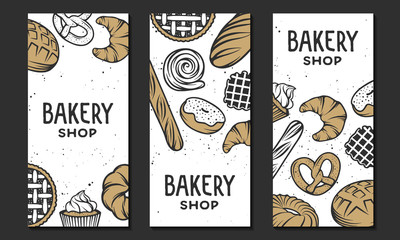 Set of vector bakery engraved elements. Typography design with bread, pastry, pie, buns, sweets, cupcake. Collection of modern linear graphic design vertical banner template. Bakery shop.