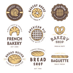 Set of vintage style bakery shop labels, badges, emblems and logo. Vector illustration. Colorful graphic art with engraved design elements. Collection of linear graphic on white background.