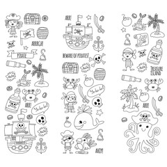 Pirate adventures Pirate party Kindergarten pirate party for children Adventure, treasure, pirates, octopus, whale, ship Kids drawing vector pattern