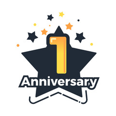 First anniversary badge. 1st anniversary vector design