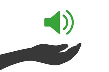 Hand hält Audio laut Symbol