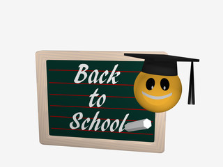 Schiefertafel mit dem Text Back to School. Daneben ist ein Emoticon mit einem High School Hut.