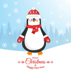 Merry christmas and a happy new year. Lovely postcard with a penguin in a hat