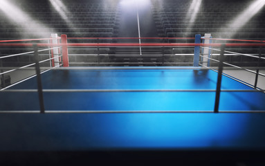 Empty boxing ring in arena, spot lights, smoke and dark night scene