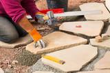gartenarchitektur verlegung von sandsteinplatten und. Black Bedroom Furniture Sets. Home Design Ideas