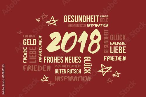 2018 Neujahr Wortwolke Glückwünsche\