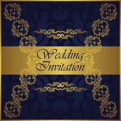 Wedding invitation with gold pattern