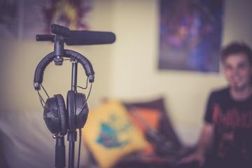 Kopfhörer, aufgehängt, Studio, Tontechnik