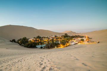 Huacachina sand dunes at sunset, in southern Peru