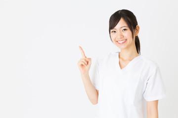 portrait of asian nurse isolated on white background