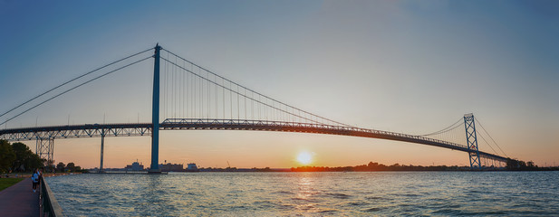 Panoramic view of Ambassador Bridge connecting Windsor, Ontario to Detroit Michigan