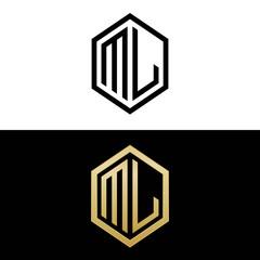 initial letters logo ml black and gold monogram hexagon shape vector