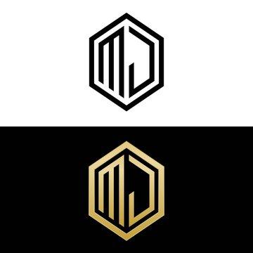 initial letters logo mj black and gold monogram hexagon shape vector