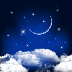 Fototapete - Night sky background with moon above clouds